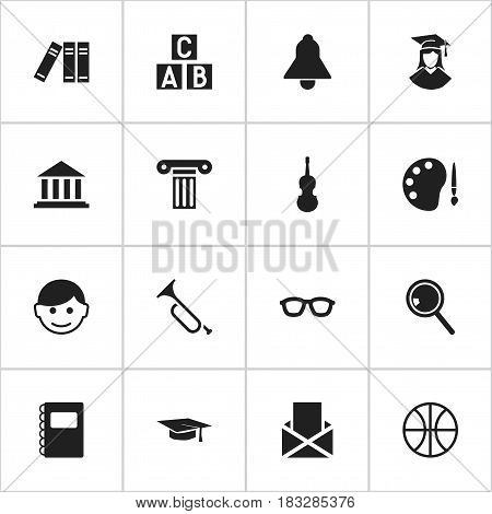 Set Of 16 Editable University Icons. Includes Symbols Such As Basket Play, Bugle, Alphabet Cube And More. Can Be Used For Web, Mobile, UI And Infographic Design.