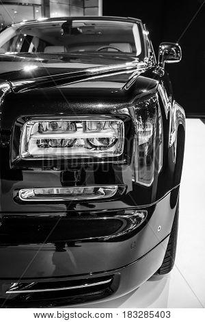 BERLIN - JUNE 14 2015: Fragment of the full-size luxury car Rolls-Royce Phantom Series II (since 2012). Black and white. The Classic Days on Kurfuerstendamm.