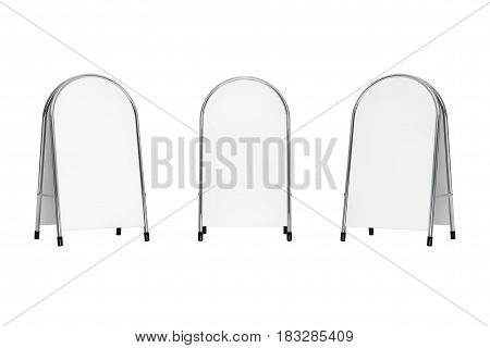 White Blank Advertising Promotion Stand on a white background. 3d Rendering.