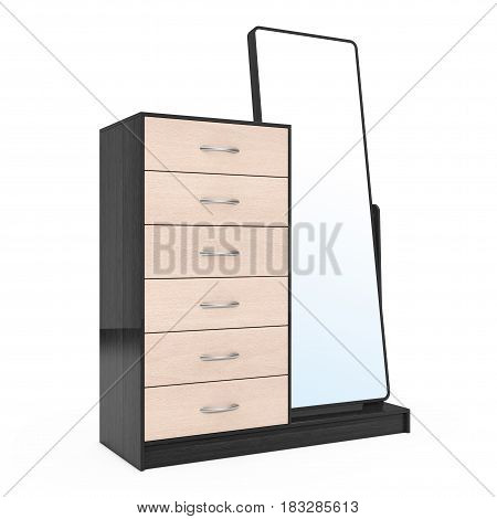Modern Wooden Dresser with Mirror on a white background. 3d Rendering.