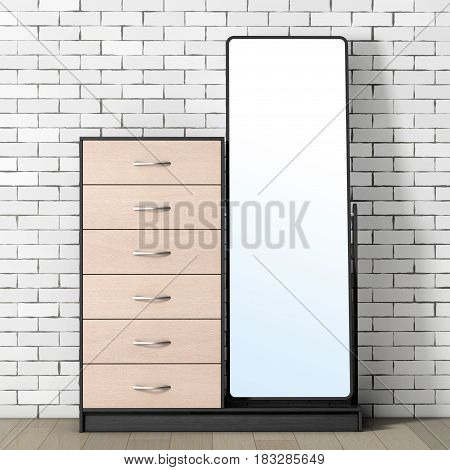 Modern Wooden Dresser with Mirror in front of brick wall. 3d Rendering.