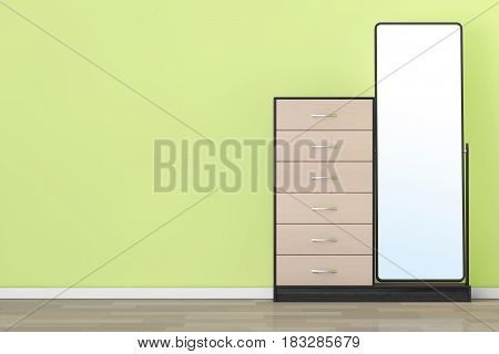 Modern Wooden Dresser with Mirror in front of olive wall. 3d Rendering.