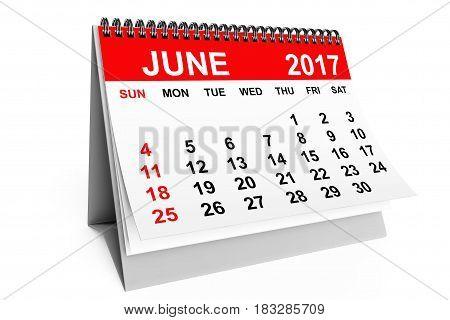 2017 year calendar. June calendar on a white background. 3d rendering