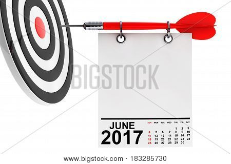 Calendar June 2017 on blank note paper with free space for your text with target. 3d Rendering