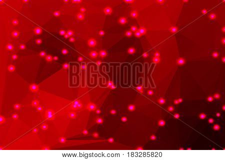 Deep burgundy red abstract low poly geometric background with defocused lights