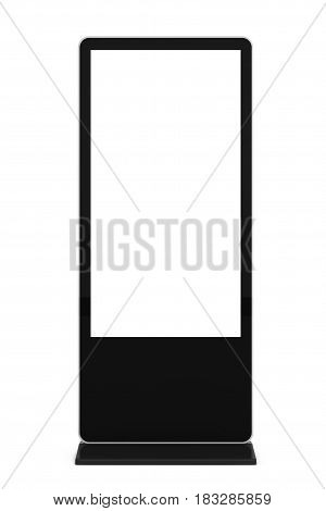 Blank Trade Show LCD Screen Stand as Template for Your Design on a white background. 3d Rendering.