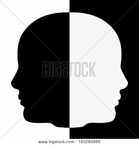 Black and White Human Head Shape extreme closeup. 3d Rendering.