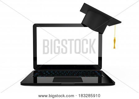 Online Education Concept. Graduation Hat over Laptop on a white background. 3d Rendering.