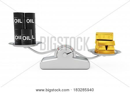 Black Oil Barrels with Golden Bars Balancing on a Simple Weighting Scale on a white background. 3d Rendering.