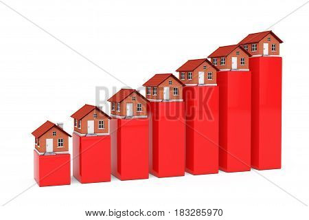 Increase in Price of Real Estate Concept. Houses over Bar Graph on a white background. 3d Rendering.