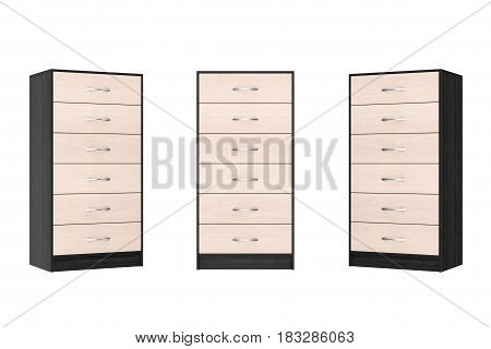 Six Drawers Modern Wooden Dressers on a white background. 3d Rendering.