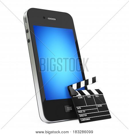 Mobile Phone with Clapboard on a white background. 3d Rendering.
