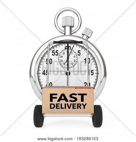 Logistic Concept. Stopwatch near Box with Fast Delivery Sign over Cart on a white background. 3d Rendering.