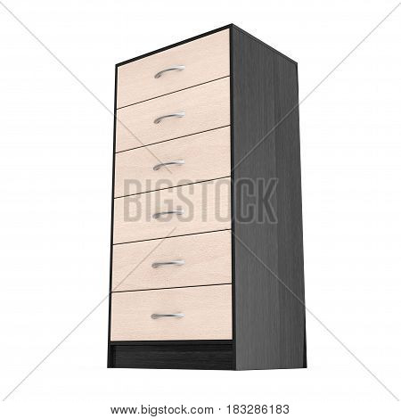 Six Drawers Modern Wooden Dresser on a white background. 3d Rendering.