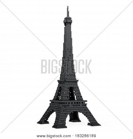 Eiffel Tower in Pixel Art Style on a white background. 3d Rendering.