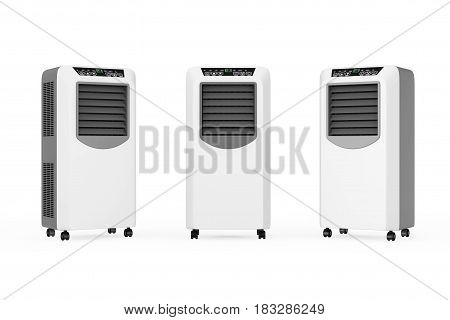 Portable Mobile Room Air Conditioners on a white background. 3d Rendering.