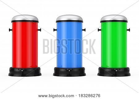 Multicolour Metal Trash Cans with Pedal on a white background. 3d Rendering.
