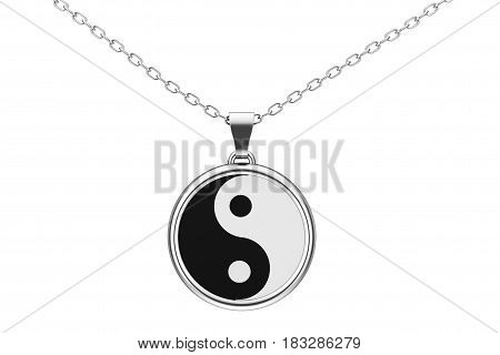 Yin Yang Symbol of Harmony and Balance Silver chain on a white background. 3d Rendering.