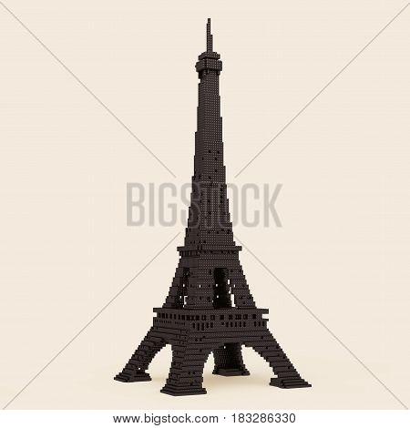 Eiffel Tower in Pixel Art Style on a sepia background. 3d Rendering.