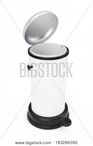 White Metal Trash Can with Pedal on a white background. 3d Rendering.