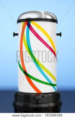 White Metal Trash Can with Pedal on a blue background. 3d Rendering.