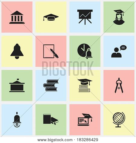 Set Of 16 Editable School Icons. Includes Symbols Such As Notepaper, Univercity, Education And More. Can Be Used For Web, Mobile, UI And Infographic Design.