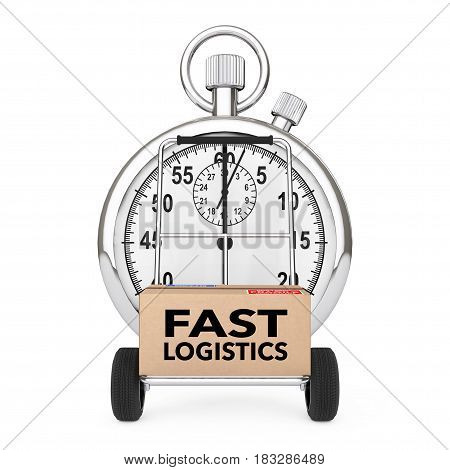 Logistic Concept. Stopwatch near Box with Fast Logistics Sign over Cart on a white background. 3d Rendering.