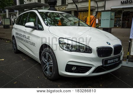 BERLIN - JUNE 14 2015: Compact MPV BMW 216d Active Tourer (since 2014). The Classic Days on Kurfuerstendamm.