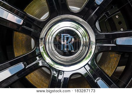 BERLIN - JUNE 14 2015: Detail of wheel and brake system of the full-size luxury car Rolls-Royce Ghost (since 2010). The Classic Days on Kurfuerstendamm.