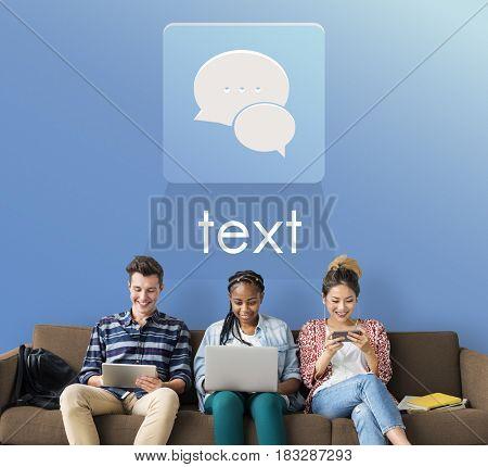 People Laptop Chat Conversation Bubble Graphic