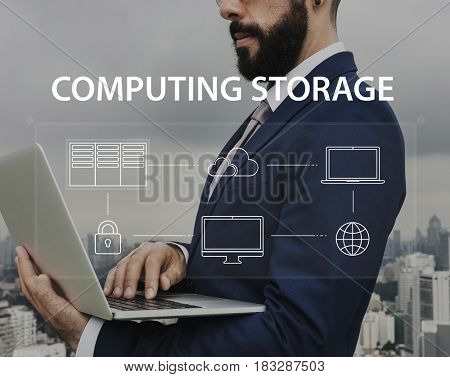 Man using laptop cloud network graphic overlay