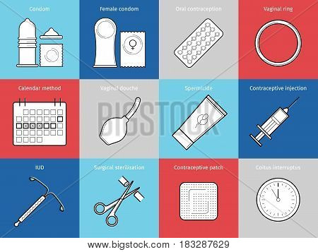 Contraceptive flat line vector icons. Planning pregnancy and birth control. Contraception methods - condom, oral contraception and patch, vaginal spiral and ring, spermicide, surgical sterilization