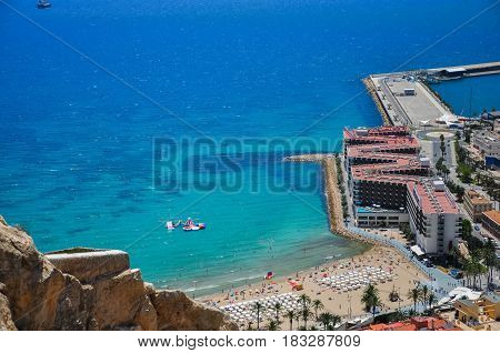 Panoramic Aerial View At The Famous Touristic City In Costa Blanca From Santa Barbara Castle,alicant
