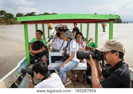 Tourists On Wooden Boat In Inle Lake, Myanmar