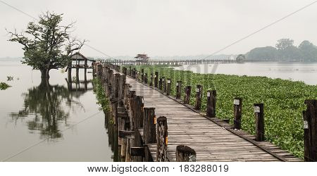 U Bein Bridge At Rainy Day In Mandalay, Myanmar