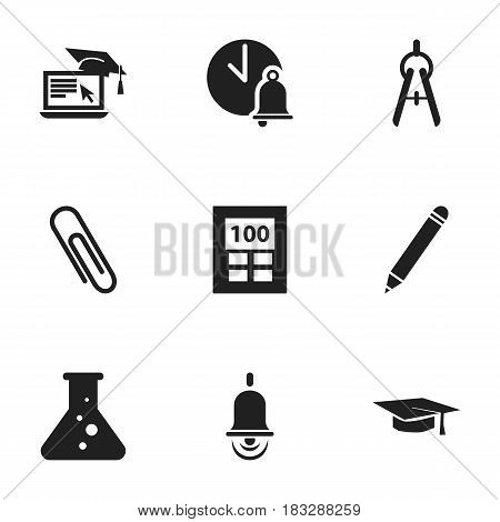 Set Of 9 Editable Science Icons. Includes Symbols Such As Chemistry, Calculator, Math Tool And More. Can Be Used For Web, Mobile, UI And Infographic Design.