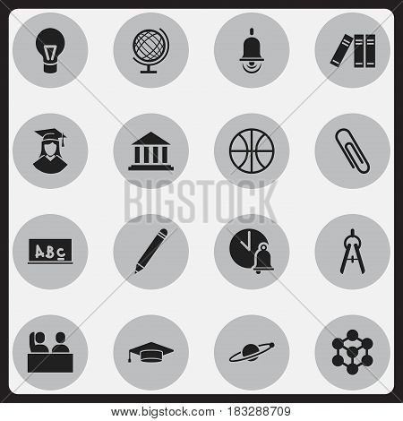 Set Of 16 Editable University Icons. Includes Symbols Such As Math Tool, School Board, Bookshelf And More. Can Be Used For Web, Mobile, UI And Infographic Design.