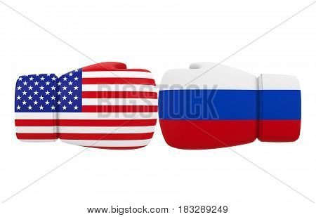 Boxing Gloves with USA and Russia flags isolated on white background. 3D render