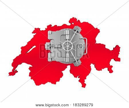 Bank Vault Door and Swiss Map isolated on white background. 3D render