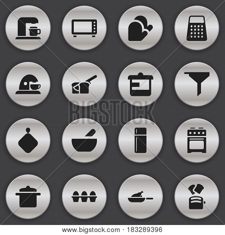Set Of 16 Editable Cook Icons. Includes Symbols Such As Stove, Cup, Cookware And More. Can Be Used For Web, Mobile, UI And Infographic Design.