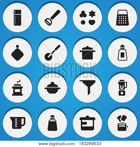 Set Of 16 Editable Meal Icons. Includes Symbols Such As Pot-Holder, Utensil, Shredder And More. Can Be Used For Web, Mobile, UI And Infographic Design.