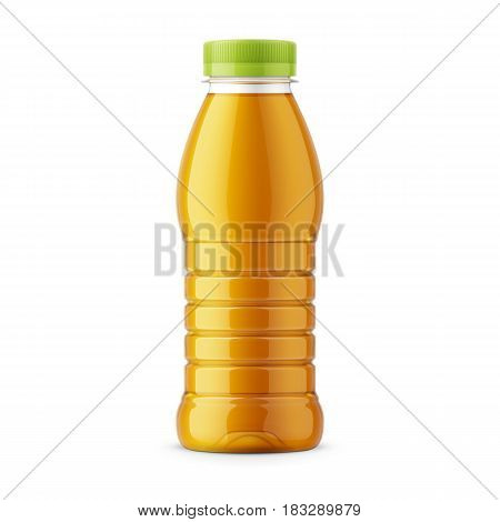 Glossy transparent PET bottle with screw cap for apple juice. 385 ml. Realistic packaging mockup template. Front view. Vector illustration.