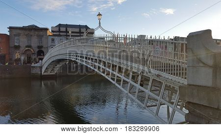 Old bridge over the river Liffey in Dublin