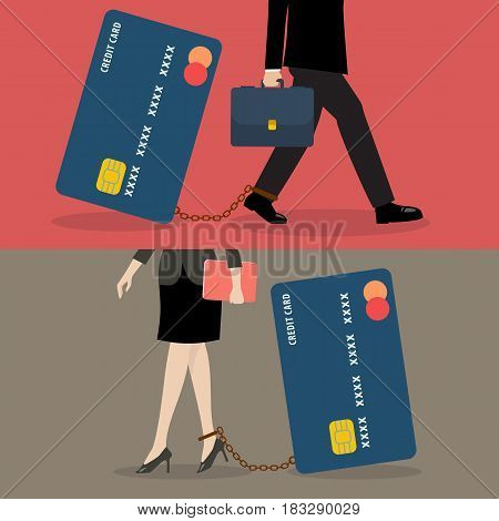 Business man and business woman with credit card burden. Business concept