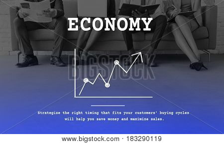 Business line graph upward arrow report