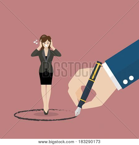 Business woman stand inside a circle painted by big boss. Warning sign