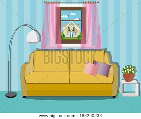 Stylish comfortable  living room interior design with furniture - sofa, flowerpot,  lamp and window. Flat style vector illustration.