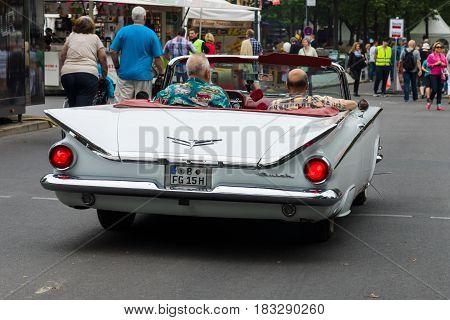 BERLIN - JUNE 14 2015: Full-size car Buick LeSabre convertible 1959. Rear view. The Classic Days on Kurfuerstendamm.