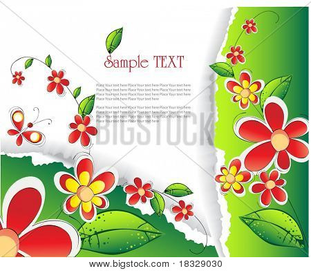 fragmentary paper with flowers and place for text