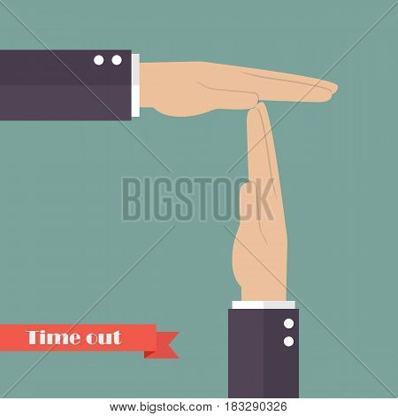 Timeout signal hand. Vector illustration cartoon concept
